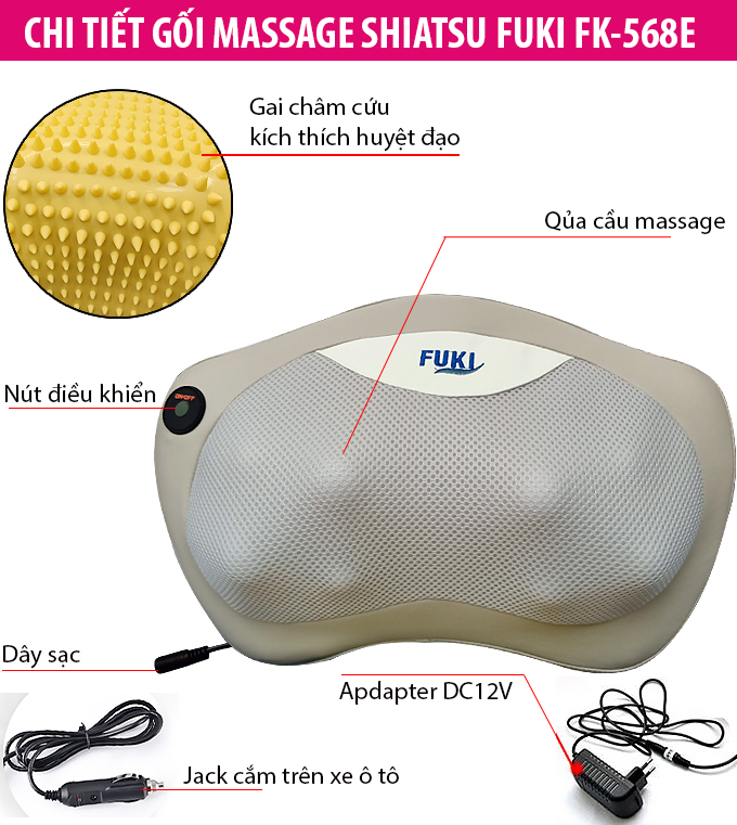Gối massage hồng ngoại trị liệu đau vai cổ lưng Shiatsu Fuki FK-568E (Pin sạc)